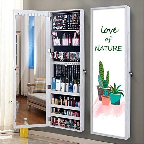 Preisvergleich Produktbild LHY SAVE Hohe Qualität Schmuckschrank hängend abschließbar Spiegelschrank Höhenverstellbarkeit Schmuckregal, an der Tür hängend, Foto-Bilderrahmen, 37 * 10 * 120cm, D