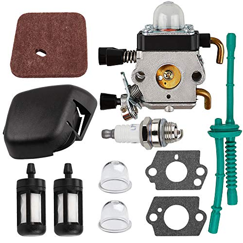 HUZTL C1Q-S97 Carburetor with Air Filter Fuel Line Kit fit STIHL FS38 FS45 FS46 FS55 KM55 HL45 FS45L FS45C FS46C FS55C FS55R FS55RC String Trimmer Weed Eater Air Filter Cover