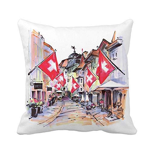 Funda de almohada con dibujo de acuarela de una calle acogedora con banderas suizas en el casco antiguo de Zúrich Funda de almohada para decoración del hogar más grande Funda de almohada cuadrada Fund