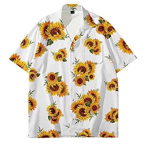 Camisa Hawaiana para Hombre,Camisa Hawaiana con Botones Hawaianos De Manga Corta para Hombre, Estampado En 3D De Flores De Sol, Camisetas De Talla Grande, Casual, De Secado Rápido, Manga Corta, Ver