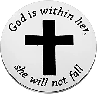 Zuo Bao Christian Gift Religious Pocket Token Psalm 46:5 God is Within Her She Will Not Fall Pocket Coin Bible Verse Gift ...