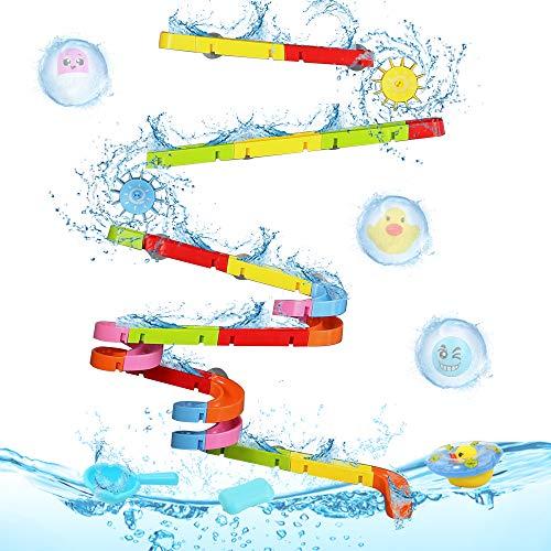 Nuheby Badewannenspielzeug Badespielzeug für Kleinkinder,57 Stück Kugelbahn Bausteine Wasserspielzeug Badespaß BAU Spielzeug ab 3 4 5 Jahre Junge Mädchen