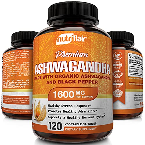 NutriFlair Organic Ashwagandha Capsules 1600mg with Black Pepper, 120 Vegan Pills - Best Root Powder Supplement - Stress & Anxiety Relief, Immune, Mood Enhancer, Energy, Adrenal and Thyroid Support