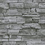 Timeet Textured Stone Peel and Stick Wallpaper 3D Stone Wallpaper Self Adhesive Removable Brick Wallpaper for Kitchen Living Room Fireplace Home Decor Waterproof Vinyl Roll 17.7'x197' Gray