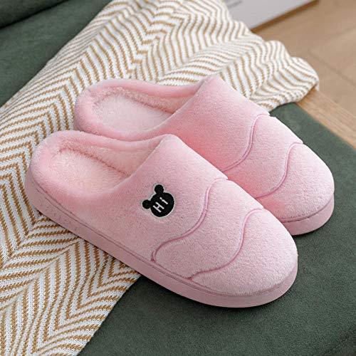 Nwarmsouth Slippers Unisex-Adulto,Zapatillas cálidas de Suela Gruesa, Zapatos de algodón Antideslizantes para Interiores-Pink_39-40,Zapatillas Antideslizantes Comfort para Hombres y Mujeres