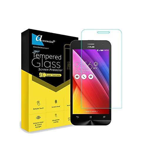 Ascension ® Curve Tempered Gorilla Glass Screen Protector High 9H Hard 2.5D Ultra Clear for Asus Zenfone 4 Transparent (Set of 2)