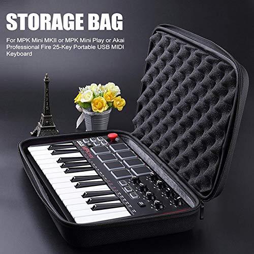 ckground Reise Hard Case für MPK Mini MK2 Keyboard Instrument Aufbewahrungstasche für Mini Play Akai Professional Fire 25-Tasten tragbare USB MIDI-Tastatur