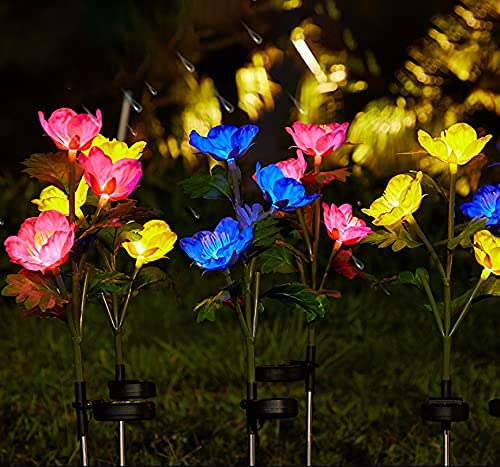Paquete de 4 luces solares de jardín con 12 flores de amapolas, luces solares para exteriores, luces LED de colores cambiantes para patio, césped, jardín, decoración de patio