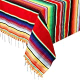 """AerWo Mexican Blanket Serape Tablecloth, Upgraded Fiesta Tablecloth with 3D Pom Pom Balls Outdoor Table Cover for Mexican Party Supplies Cinco De Mayo Fiesta Decorations, 59"""" x 84"""""""