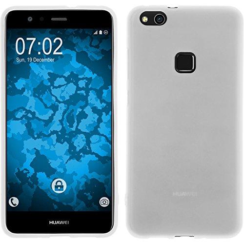 PhoneNatic Custodia Compatibile con Huawei P10 Lite Cover Bianco stuoia P10 Lite in Silicone + Pellicola Protettiva