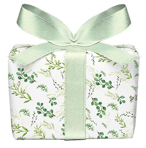5er Set 5 Bögen Geschenkpapier Zweige grün, Adventskalender Weihnachten Geburtstag Taufe Kommunion Konfirmation Ostern Hochzeit, gedruckt auf PEFC zertifiziertem Papier, 50 x 70 cm