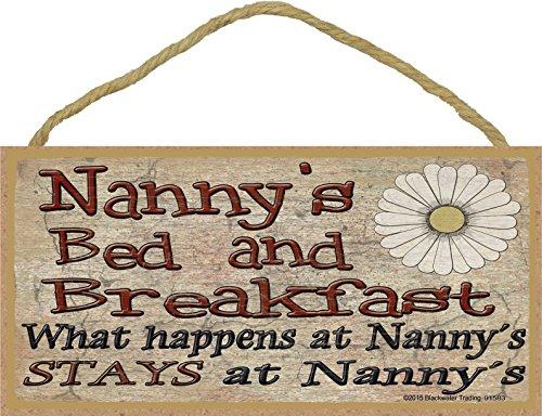 Blackwater Trading Nanny de lit et Petit déjeuner Que Se Passe-t-il à Reste à Grand-mère Plaque 12,7 x 25,4 cm