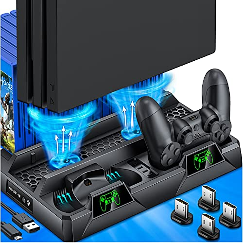 PS4 Stand Cooling Fan for PS4 Slim/PS4 Pro/PlayStation 4, PS4 PStand Vertical Stand Cooler with Dual Controller Charge Station & 16 Game Storage, PS4 Organizer Stand with Game Storage PS4 Accessories