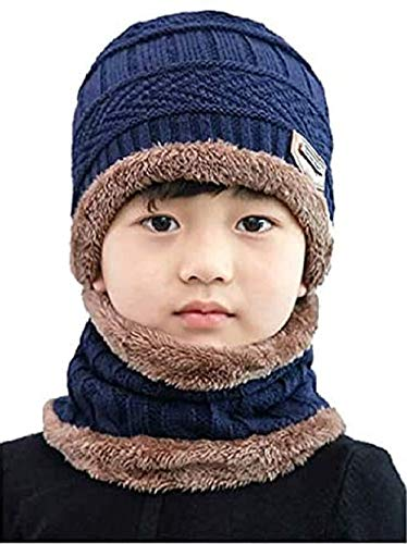 Dressify™ Kids Hat Scarf Set Warm Fleece Knit Beanie Cap Scarf Mask for Boy Girls Children Blue Color