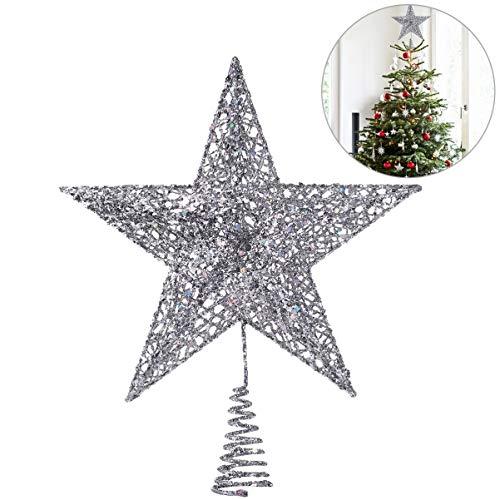 NICEXMAS - Decoración para árbol de Navidad con estrella plateada brillante de 20 cm, decoración de árbol de Navidad, 5 puntos