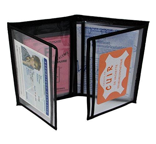 MJ MAMJACK 1951 carta in pelle Car Holder - formato 4 componenti - cassa di carta grigia, patente di guida, carta d'identità, carte di assicurazione, molto ampio