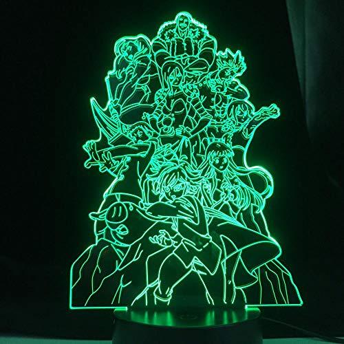 The Seven Deadly Sins Group Para Quarto Decorativo Luz do humor Aniversário Acrílico Led Luz Noturna Manga Team 3D Led Lamp Anime-With_Remote