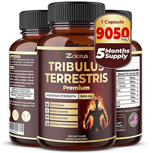 Tribulus Terrestris, 9050mg Per Capsule, 5 Months Supply, Highest Potency with Ashwagndha, Panax Ginseng, Saw Palmetto, Maca, Shilajit. Boost Energy, Mood, Stamina & Performance, for Men & Women