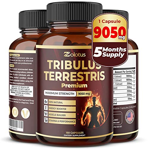 Tribulus Terrestris, 9050mg Per Capsule, 5 Months Supply, Highest Potency with Ashwagndha, Panax Ginseng, Saw Palmetto, Maca, Shilajit. Boost Energy, Mood, Stamina & Performance, for Men & Women