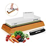 Sharpening Stone, Meterk Premium Whetstone 1000/6000 Grits Combination Knife Sharpener Kit Water Stone-Sharpener and Polishing Tool Bamboo Base Silicone Base Angle Guide Flattening Stone Included