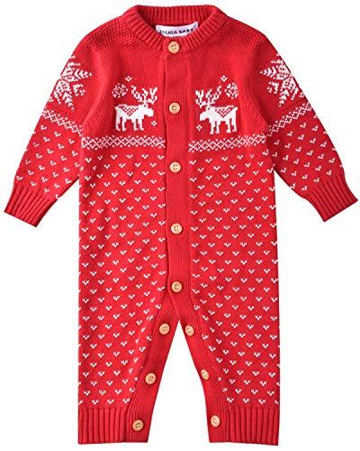ZOEREA Suéter de Bebé Mono Recién Nacido Unisex Navidad de Manga Larga Jersey de Algodón de Ciervo Hecho Punto Rojo Etiqueta 80