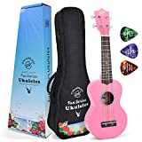 CLOUDMUSIC Soprano Ukulele Princess Pink With Aquila Kids Educational Color Strings New Nylgut Strings For Kids Children Beginner (Pink)
