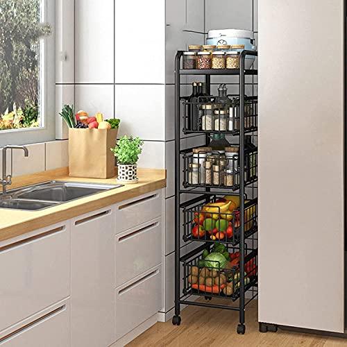 Scaffale per stoccaggio frutta verdure rack da cucina carrello di stoccaggio da cucina su ruote, rotolamento del carrello di utilità con il carrello di stoccaggio di metalli a 5 livelli per il cassett