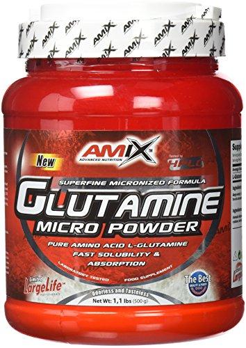 AMIX - Glutamina Polvo - Glutamine - 500 Gr - Contribuye al Desarrollo Muscular - L-Glutamina como Ingrediente Principal - Aporta Aminoácidos Esenciales - Ideal para Deportistas