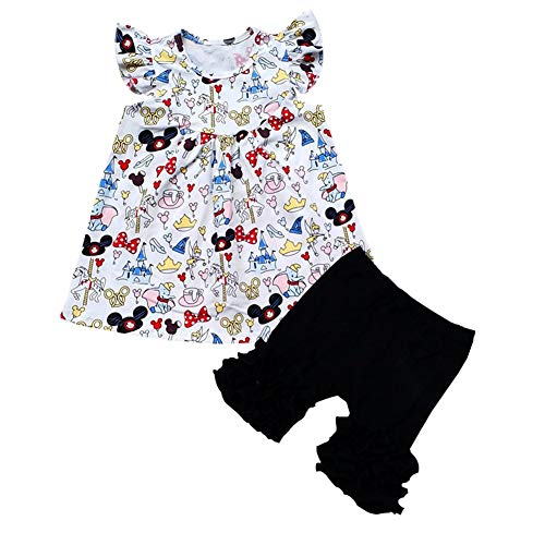 Baby Girl Flutter Mickey Pearl top with Icing Shorts Set Baby Spring Summer Boutique Clothing White