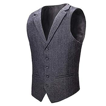 VOBOOM Mens Herringbone Tailored Collar Waistcoat Fullback Wool Tweed Suit Vest  Dark Grey 3X-Large