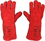 1 x <span class='highlight'>Welding</span> Gloves Long Leather Gaunlets Heat Resistant Lined MIG ARC Welders