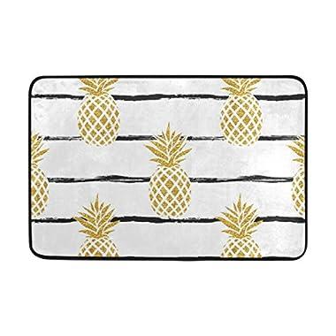 La Random Summer Tropic Pineapple With Stripes Doormats Area Rug Entry Front Door Mat Kitchen Non Slip Bath Rug 23.6x15.7 Inches for Indoor Outdoor Use
