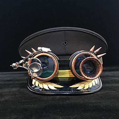 HXGAZXJQ Casco de Visera Moda Steampunk Mujeres Hombres Sombrero Militar Engranaje Gafas Alemania Oficial Visor Cap Army Hat Cortical Police Cap Cosplay Hat Sombrero para el Sol para los Hombres