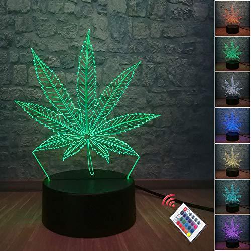 Lámpara de mesa 3D LED con diseño de hojas de cáñamo, 7 colores, con ilusión óptica táctil, para decoración de la habitación del hogar, fiestas, iluminación para niños, lámpara de lava (hoja)