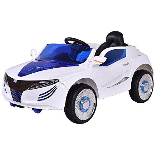 COSTWAY 2.4G Elektroauto Kinderauto Elektrofahrzeug Kinderfahrzeug Elektro Auto Zwei Motor mit Fernbedienung und Musik (Weiß)*