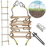 Escalera de cuerda para niños - Escaleras duraderas de madera dura de 1.25 'de grosor - Escalera de escalada de línea Ninja de 7 pies para niños o adultos con ancla de tierra - Accesorio Slackline.