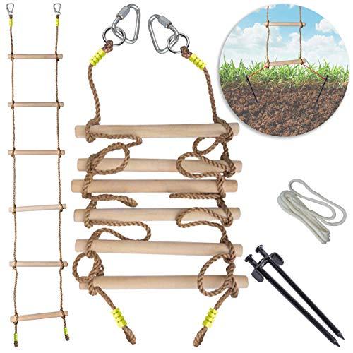 Cateam Strickleiter für Kinder - Robuste 1,25 'Dicke Hartholztreppe - 7 Fuß Kletter-Ninja-Leiter für Kinder oder Erwachsene mit Bodenverankerung - Schaukelzubehör für Slacklines