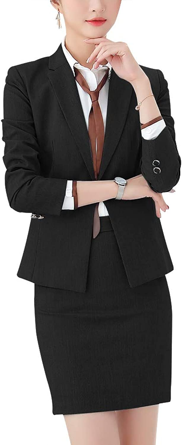 SUSIELADY Women's Two Pieces Casual Work Office Blazer Suit Solid Business Suit Set Slim Blazer &Pant Skirt