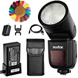 Godox V1-N Flash for Nikon, 76Ws 2.4G TTL Round Head Flash Speedlight, 1/8000 HSS, 480 Full Power Shots, 1.5s Recycle Time, 2600mAh Lithium Battery, 10 Level LED Modeling Lamp, W/Pergear Color Filters