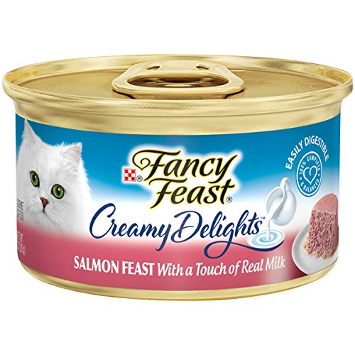 Purina Fancy Feast Pate Wet Cat Food, Creamy Delights Salmon Feast With a Touch of Real Milk - (24) 3 oz. Cans