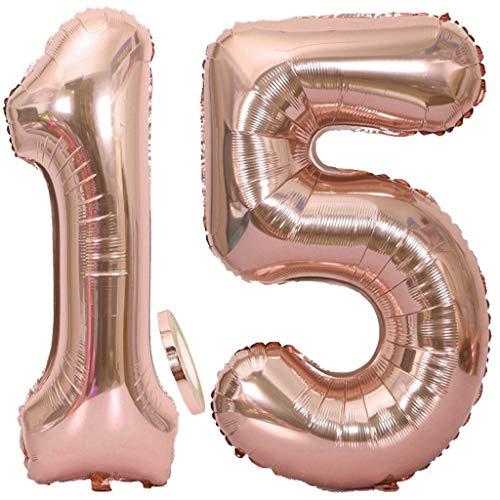 Feelairy Luftballons 15. Geburtstag XXL Rose Gold, 2 Stück Riesen Folienballon Zahl 15 mit Band Nummer Ballons 40