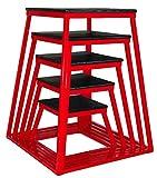 "Ader Sporting Goods Plyometric Platform Box Set- 12"", 18"", 24"", 30"" Red"