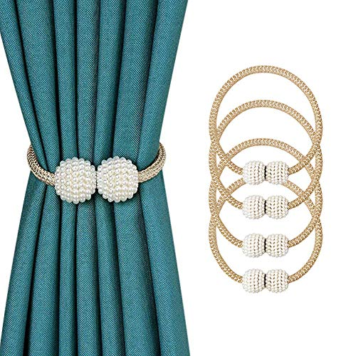 Suoxu Vorhang-Raffhalter, 4 Stück, magnetische Vorhang-Raffhalter, Perlenkugel, Vorhang-Clips, Seil-Halterung, Schnallen für Zuhause, Büro, dekorativ (Gold)