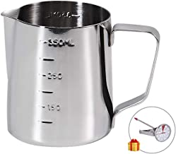 Coffee Milk Frothing Pitcher Cup with Measurement Inside Thermometer set 12oz/350ML Stainless Steel Espresso Steaming Pitcher Tool for Cappuccino Machines Espresso Pitcher Latte Art