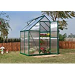 Palram HG5005G Mythos Hobby Greenhouse, 6' x 4' x 7', Forest Green 12 Dimensions: 6' x 10' x 7' Virtually unbreakable 4 mm twin-wall polycarbonate panels block up to 99.9% of UV rays and diffuse sun light eliminating the risk of plant burn and shade areas Includes adjustable roof vent, rain gutters, lockable door handle with magnetic door catch and a galvanized steel base for structural support