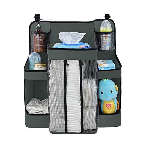 Krippe Aufbewahrungstasche hängende Tasche, Kindergarten und Windel Organizer, Oxford Tuch Material, Baby Essentials platziert Werden können, für den Heimgebrauch geeignet, grau