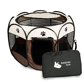 BIGWING Style Parc Chien Parc à Chiot Enclos pour Chiens Chats Lapins Pliable Utiliser à l'intérieur et à l'extérieur (café)