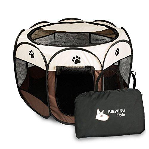BIGWING Style Welpenlaufstall/Tierlaufstall/Hundehütte/Welpenauslauf/Laufstall für Hunde/Katzenhaus/Wasserdichtes Zelt für Kleintiere wie Hunde, Katzen (S, braun)