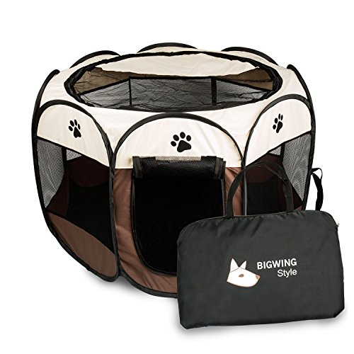 BIGWING Style Recinzione per cuccioli - Grande recinto per animali da usare all'interno e all'esterno per cani, gatti, lepri & piccola animali - Facile da montare Coffee S