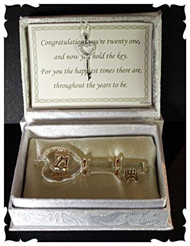 Personalizzabile per ° compleanno in scatola chiave con un argento chiave collana Keepsake